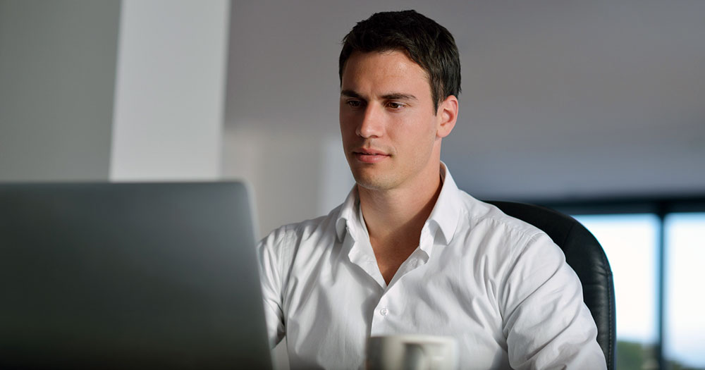 Business man studying online