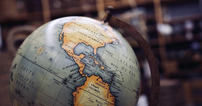Globe featuring North America